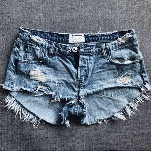 One X OneTeaspoon destroyed denim shorts